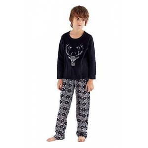 Undercover Lingerie Ltd Boys One 07 Fleece Stag Pyjamas KN144 Black 13