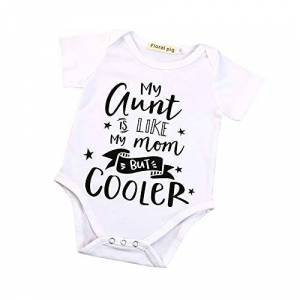 squarex  Baby Romper, Girl Boy Letter Bodysuit Romper Clothes Outfits (0-3 Months, White)