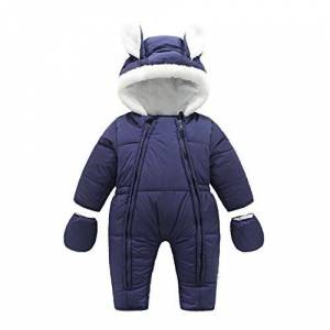 Vine Baby Snowsuits Infant Hooded Romper Winter Jumpsuit Onesies Winter Outfits, Blue, 12-18 Months