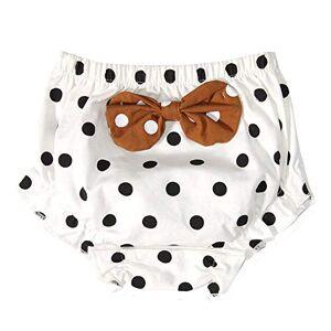 URMAGIC Baby Girl Ruffle Bloomers Kids Polka Dot Panties Diaper Cover Knickers 0-4 Years White