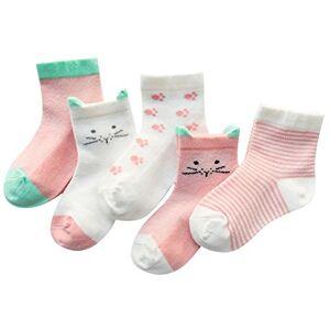 BOBORA Baby Girl Boy Cotton Socks, Toddler Kids Cute Animal Pattern Thin Organic Cotton Anti-slip Socks 5 Pairs Pack