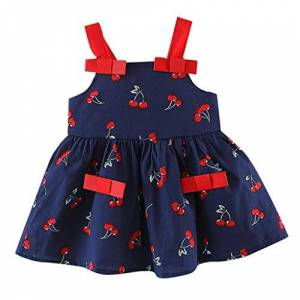 COOKDATE-baby girl dress 0-24 Months, Baby Kid Dress, Newest Toddler Kid Baby Girl Sleeveless Cherry Printed Party Princess Dress Clothing (Navy, 0-6 Months)