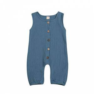 Hongyuangl Cotton and Linen Jumpsuit Kids Girl Boy Romper One Piece Overall Pants Summer Outfits Blue