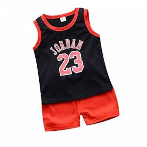 """wuayi  Baby Boys Basketball 23"""" Vest T-Shirt Tops Shorts Pants Outfits Clothes Sets 6 Months - 5 Years Black"""