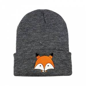 Minshao Children Baby Fashion Fox Warm Winter Knitted Wool Hemming Cap Hat for 6Months- 5Years Old (Dark Gray)