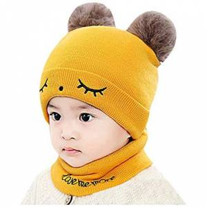 Colorful Knit Hat Clearance Little Kids Winter Keep Warm Hat Scarf Sets,Colorful(TM) Toddler Kids Girl Boy Baby Infant Cute Cartoon Crochet Knit Hairball Hat Beanie Cap+Scarf Sets for 0-2 Years Old (Yellow)
