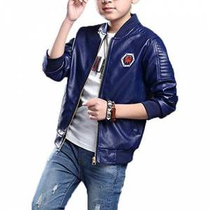 Monvecle Big Boy's Trendy Stand-Collar PU Leather Moto Jacket Coat Navy 12-13 Years