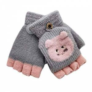Colorful Kids Gloves Little Kids Winter Warm Gloves,Colorful(TM) Children Kids Boy Girl Winter Cute Cartoon Bear Keep Warm Flip Top Fingerless Mittens Gloves for 1-3 Years Old (Gray)
