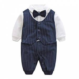 Fairy Baby Baby Boy Outfits Gentleman Formal Outfit Long Sleeve Clothes,Navy Blue Stripe,12-24 Months