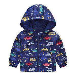 Homstar Toddler Kids Hooded Cartoon Coat Tops Baby Boys Girls Zipper Light Windproof Jackets Outerwear Autumn Winter Cotton Thick Warm Windbreaker Clothes Sweatshirt Waistcoat 1-5 Years Blue