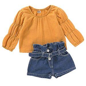 Borlai 1-4 Years Girs Puff Sleeve Top Shirt + Denim Short Kids Pretty Clothes Set 2PCS
