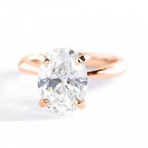 5ine Jewels 2.00 Ct SI2 G Oval Cut Knife Edge Diamond Solitaire Engagement Ring 18K-Rose Gold