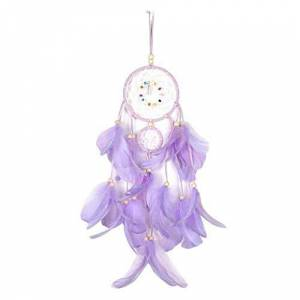 Greenwind Feather Lightweight Lighting, Unique Dream Decorative Lights for USB or Battery Charging, 55cm, Feather Drops Earrings - Trending Jewelry - Feather Jewelry - Feathery Light Fashion (Purple)