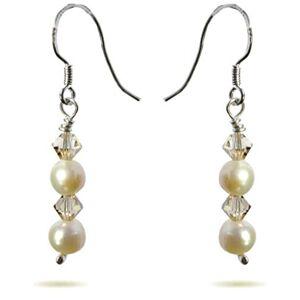 Pearl Handmade Pearl, Crystal Beads 925 Sterling Silver Drop Earrings Gift Wrapped