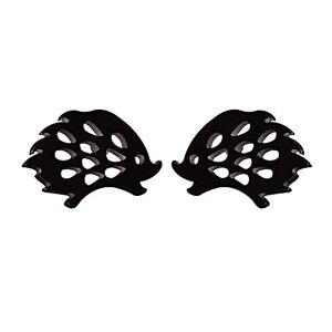 Homeofying Stainless Steel Mini Small Minimalist Hollow Hedgehog Women Stud Earrings Jewelry Gift Black