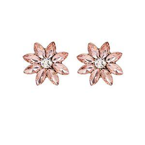 L-FENG-UK 1 Pair 8-Petal Flower Women Ladies Girls Rhinestone Ear Stud(Light Pink)