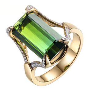 MSYOU Women Ring Creative Green Cut Diamond Ring Jewelry Accessories(9#)