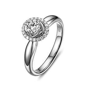 DOLOVE 18K White Gold Rings Wedding Rings for Women Rings Engagement Rings Diamond Ring 1ct Women Ring Size T 1/2