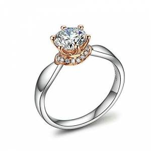 Anyeda Rings Jewellery Women 18K Gold Six Claw Diamond Silver Adjustable Rings Set Ring Size H 1/2