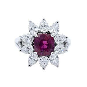 Rachel Koen 18K White Gold Cushion Ruby Pear Cut Diamonds Flower Ring Size 7