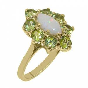 LetsBuyGold 18ct Yellow Gold Natural Opal & Peridot Womens Anniversary Ring - Size T 1/2