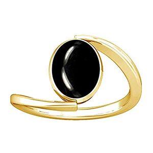 Divya Shakti 9.25-9.50 Carat Black Agate/Kala Hakik/Haqiq/Akik Stone Panchadhatu Plain Design Ring for Womens