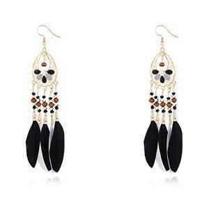 LPxdywlk Boho Women Hollow Out Oval Beads Colorful Feather Tassel Drop Statement Earrings Jewelry Gift Black