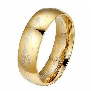 Yukong Men's Titanium Rings,Yukong Stainless Steel Gold Ring Jewelry Wedding Band For Men (Gold, 10)
