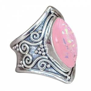 Beauty Top Woman'S Silver Ring,Beauty Top Natural Gemstone Moonstone Marquise Pink Opal Engagement Ring Jewelry Ring Christmas Valentine'S Daily Life, Wedding,Jewellery Sets,Mothers Day Gifts (Pink, L 1/2)
