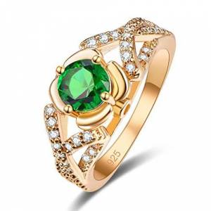 YAZILIND Green Round Cubic Zirconia Ring Rhinestone Gold Plated Promise Engagement Jewellery for Women Size P