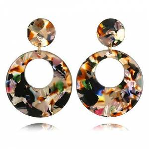 Artily 1 Pair Acrylic Round Circle Tortoise Shell Leopard Oversized Drop Hoop Statement Earrings Jewellery for Women Gift size 5 * 2.5cm (Colorful)