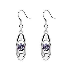 Topdo 1 Pcs Fashion Elegant Purple Rhinestone Drop Dangly Hoop Earrings Stud for Women Girls Party Earring Gift