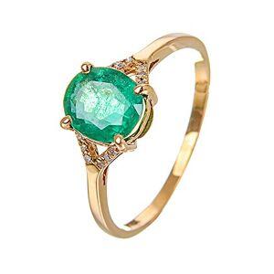 Daesar 18K Gold Rings Women Ring Engagement Green Emerald Oval Diamond Ring Engagement Wedding Bands Gold Ring Size 4