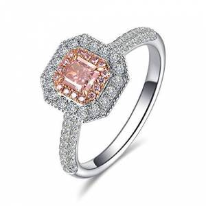 Bishilin White Gold Rings for Women 18K Geometry Diamond Anniversary Engagement Wedding Band Ring White Gold Size:U 1/2