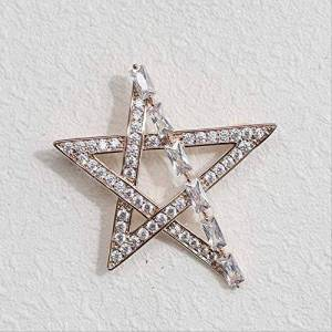 CBCJU Delicate Star Brooch with AAA Zircon Simple and Elegant Brooch Accessories 4.6 * 4.1cm Gold