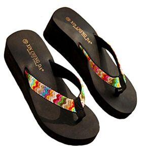 Koly Fashion Summer Platform Sandals Beach Flat Wedge Patch Flip Flops Lady Slippers (39, Black )