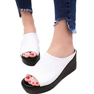 Familizo Leather Wedge Sandals for Women Summer Slip on Peep Toe Platform Heels Comfort Wide Fit Walking Shoes Size (38 EU, White)