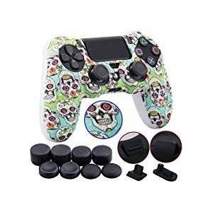 9CDeer 1 Piece of Silicone Studded Water Transfer Protective Sleeve Case Cover Skin + 8 Thumb Grips Analog Caps + 2 dust proof plugs for PS4/Slim/Pro Dualshock 4 Controller, Skull Black