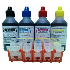 CleanPrint Edible ink refillable cartridge kit consisting of, a set of 5 empty refillable edible ink cartridges and 400ml of edible ink for use on Canon printer models IP4850, IP4950, MG5150, MG5250, MG5350