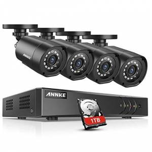 ANNKE CCTV Camera System 8+2CH 1080P Lite HD TVI 5-IN-1 DVR Kit w/ 1TB Surveillance HDD and 4x 1080P Weatherproof Bullet Cameras, Motion Detect Smart Recording, USB Backup