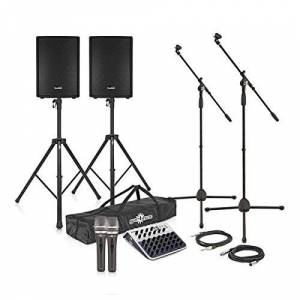 """SubZero 700W 12"""" Active PA System with Mics, Stands and Mixer"""