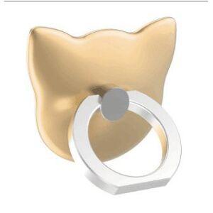 Nroom New Mobile Phone Holder Cartoon Ring in The Bracket cat Ring Buckle, Mobile Phone Bracket (Golden)