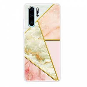 CUAgain Compatible with Huawei P30 Pro Case Silicone Marble Diamond Pattern with Bumper Soft Pretty Design Ultra Thin Slim Protective Shockproof Cover for Girls Women Men Boys Yellow