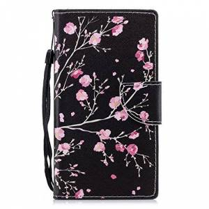 ShinyCase Sony Xperia L2 Phone Case, Flip PU Leather Wallet Cover Book Style Case Stand Function Holder Magnetic Shell Card Slots Shockproof Protection TPU Bumper Colourful for Xperia L2 Pink Flower