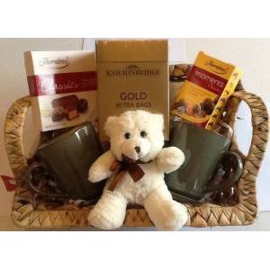 The Gift Box Deluxe Tea and Chocolates Hamper for 2 - gift wrapped
