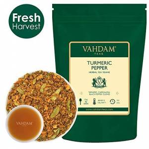 VAHDAM Turmeric Pepper Herbal Tea Tisane, (100 Cups) 200g   India's Ancient Medicine Blend of Turmeric & Garden Fresh Spices   Detox Tea- Decaf Tea   Rich in Anti-OXIDANTS & Phyto-NUTRIENTS   Turmeric Tea