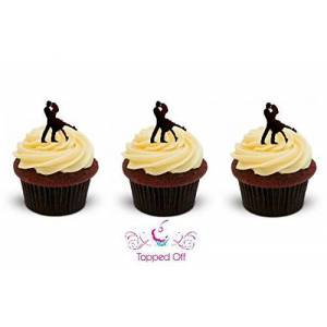 Topped Off 16 dancing couple stand up edible cup cake topper decorations ideal for Valentines Day or Weddings