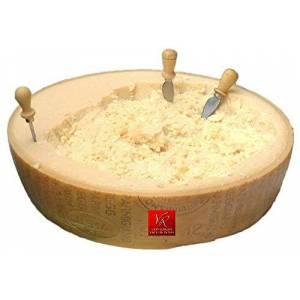 """Parmigiano Reggiano PDO """"Vacche Rosse/Red Cows"""" Half Wheel 46 lbs (kg.21) 3 Little Knife, Seasoned 24/30 Months. Produced Directly by Consorzio Vacche Rosse (Red Label)"""