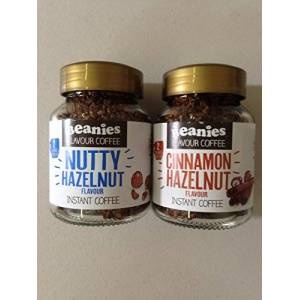 Beanies Instant Coffee 2 Jars ( Nutty Hazelnut and Cinnamon Hazelnut)