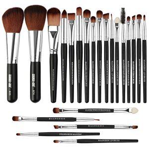 22Pcs Professional Cosmetic Set tools Premium Makeup Kit Wooden Foundation Brush Powder Brush Eye Brush Eyeliner and Lip Brush Contour Highlight Brush Toiletry Brush Set (Black3)